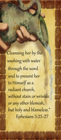 by the washing of water through the word